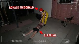 CAUGHT RONALD MCDONALD ON OUR SECURITY CAMERAS AT 3 AM!! (BREAKS IN OUR HOUSE)