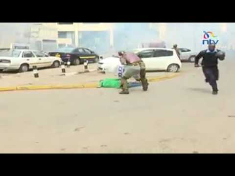Kenyan police beating a man ruthlessly in Violent Demonstrations in Nairobi