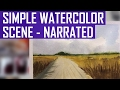 Countryside Road - Easy Watercolor Landscape for Beginners (Real-Time Version)