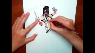 Как рисовать Милину (МК)/How to Draw Mileena (MK)
