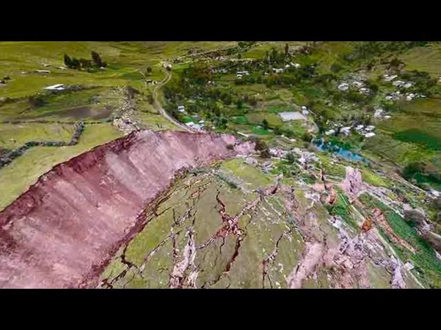 landslide in Llusco, Department of Cusco, enormous landslide in Peru, earthflow