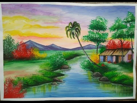 New watercolour landscape scene -watercolor scenery painting