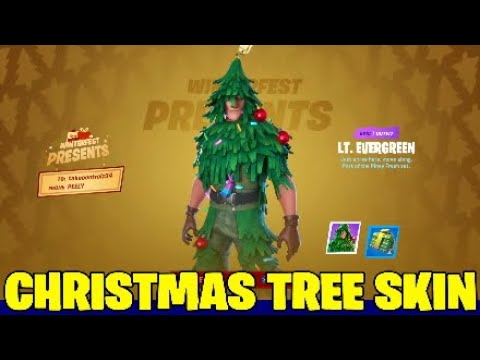 Fortnite Christmas Tree Skin.Lt. Evergreen - With Built In Emote,winterfest Presents