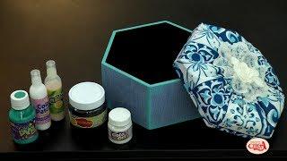 Alciana Rossi ensina a fazer caixa com forração em tecido e decoupagem