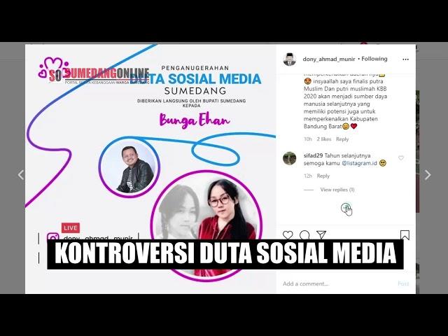 Kontroversi Penganugrahan Duta Sosial Media Sumedang ke Bunga Ehan