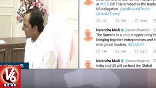 CM KCR Thank Modi For Hosting Global Entrepreneurship Summit in Hyderabad | V6 News