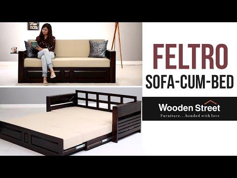 Sofa Cum Bed - Buy Feltro Bed Cum Sofa online in Walnut finish from Wooden Street thumbnail
