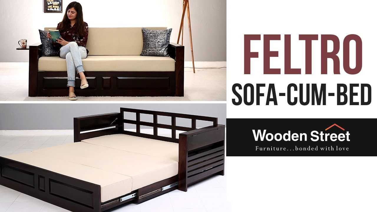 Sofa Cum Bed Buy Feltro Bed Cum Sofa Online In Walnut Finish From