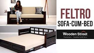 Sofa Cum Bed - Buy Feltro Bed Cum Sofa online in Walnut finish from Wooden Street