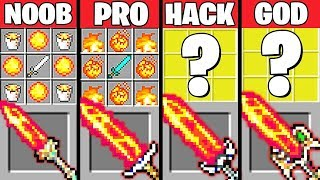 Minecraft Battle: SUPER FIRE SWORD CRAFTING CHALLENGE - NOOB vs PRO vs HACKER vs GOD ~ Animation