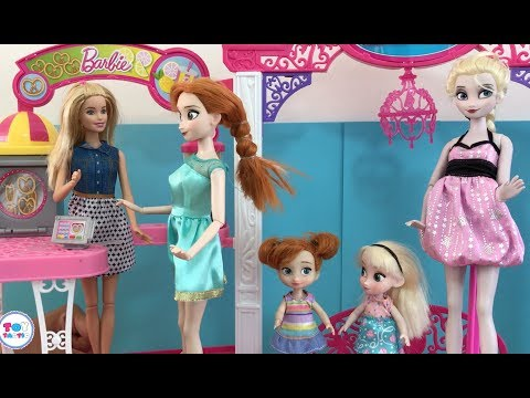 Barbie Elsa Anna Dolls Videos! Baby Twins Cinema Shopping Dresses Fairy Dream Cake Messy Day!