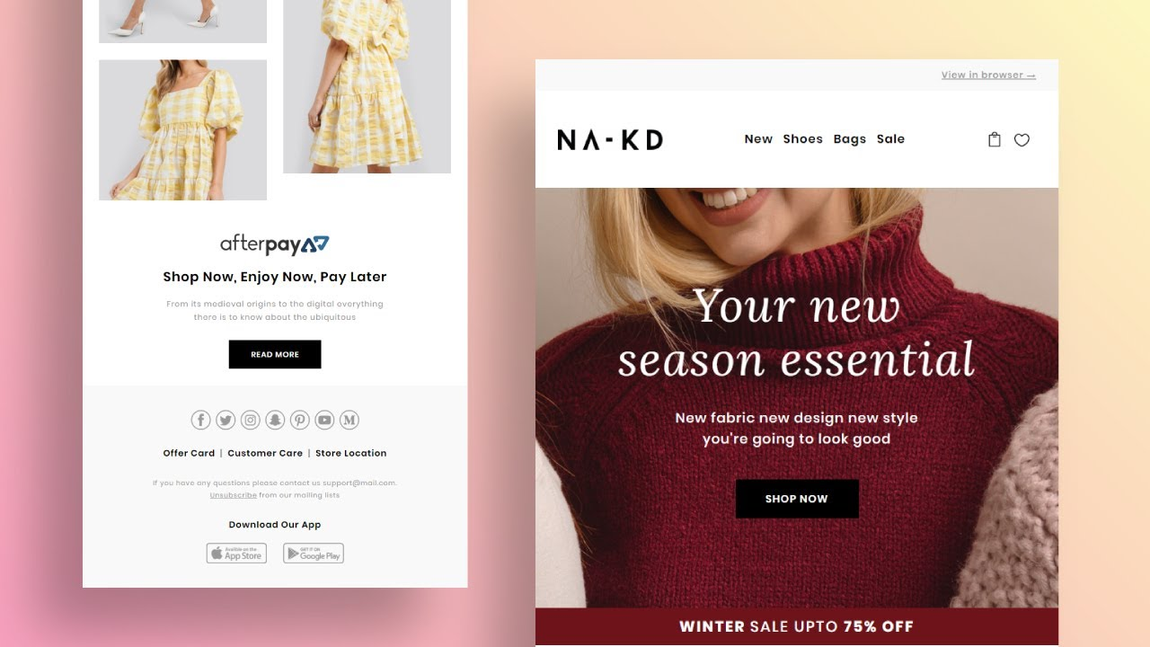 How To Design A Custom Email For Fashion Shop With No Coding Knowledge Liramail Editor Youtube