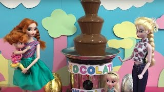 Chocolate World! Elsa & Anna go on Kinder Surprise Egg Hunt Chocolate Fountain + Thomas Train Ride!