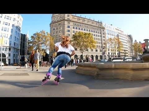 Super fast skating through Barcelona on F4 Inline skates.