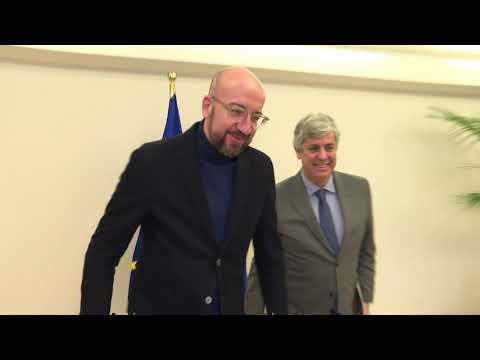 EU Council President Michel Meets Eurogroup President Centeno In Brussels