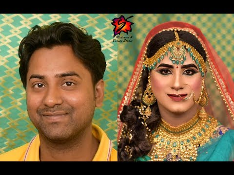 Male to Female Bridal Makeover   Boy to Girl Transformation Makeup । Makeup course   Makeup Class