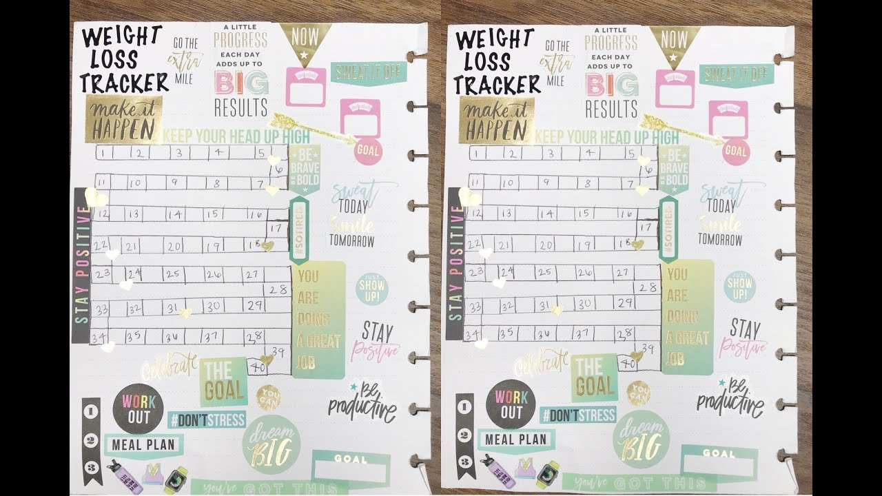 Diy Weight Loss Tracker Fitness Planning In Happy Planner Plan With Me