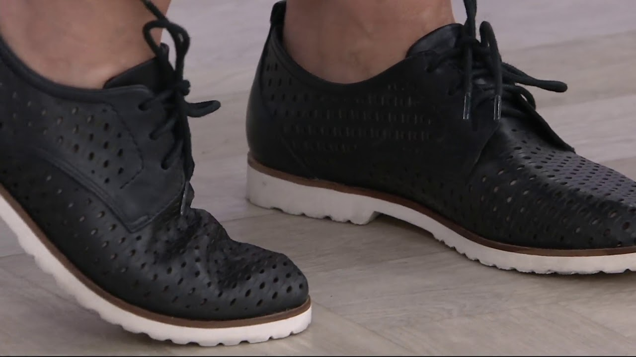 50271c5d5cb Earth Perforated Leather Lace-up Shoes - Camino on QVC - YouTube