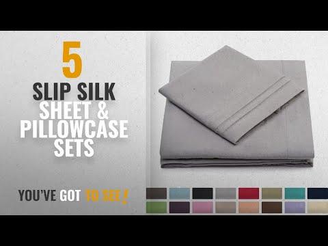 Top 10 Slip Silk Sheet & Pillowcase Sets [2018]: California King Bed Sheets - Silver Luxury Sheet