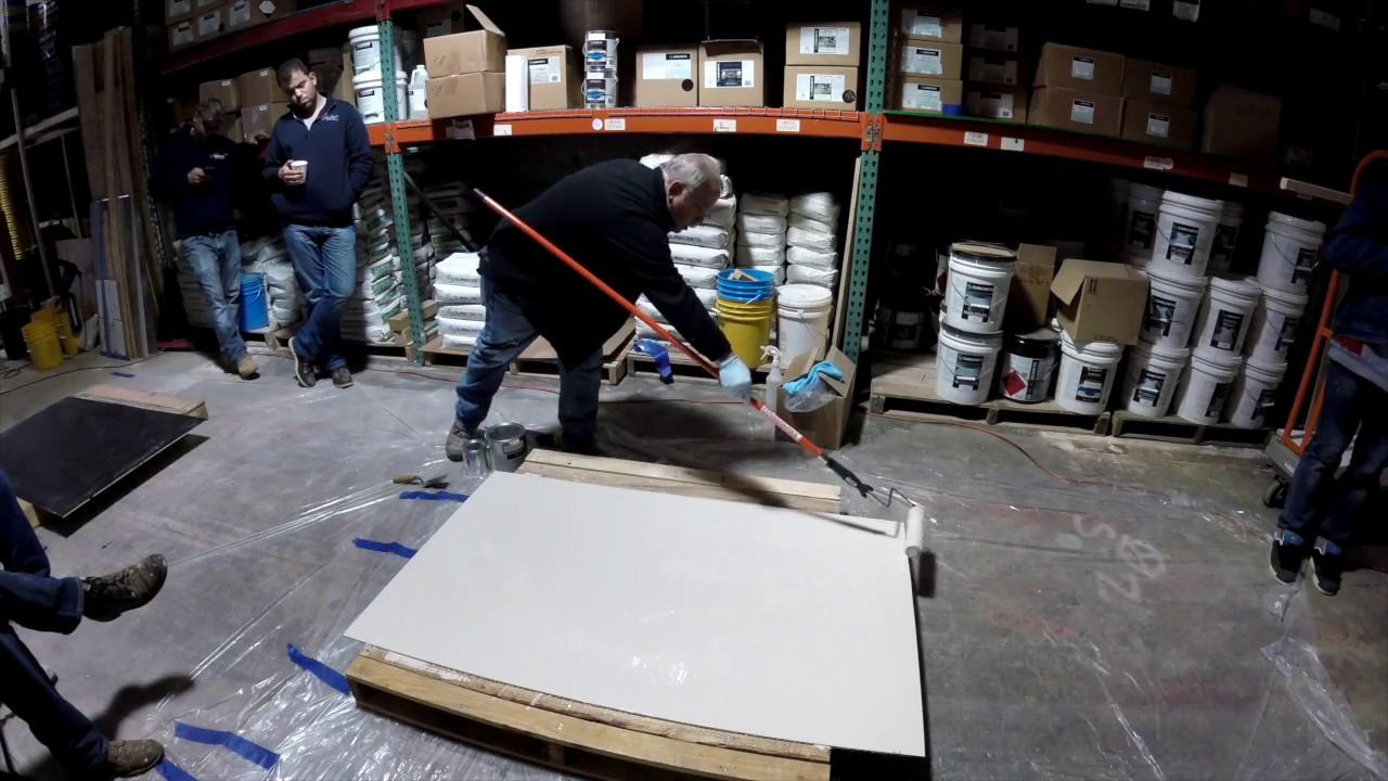 Decorative Concrete Training epoxy floor. how to apply epoxy flakes. globmarble decorative