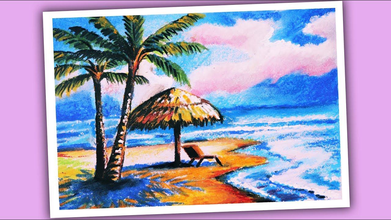 draw scenery of sea beach