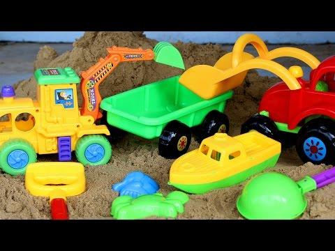 รีวิวของเล่น-รถแม็คโคร รถตักดิน กระบะพ่วง - วีดีโอสำหรับเด็ก