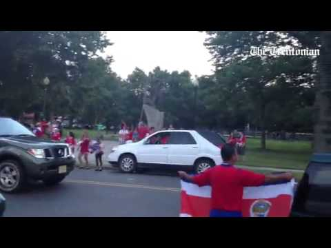 Costa Rica nation celebrate at Trenton's Columbus Park after thrilling World Cup win over Greece.