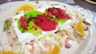 Hyderabadi Fruit Cream Dessert in Hindi, Urdu, Dawaton wala meetha,  Cream Fruit Delight