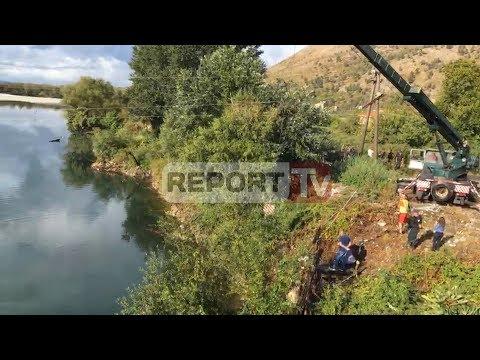 Report TV - Aksident në Shkodër,makina me 2 persona bie në lumin Drin