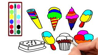 how to draw ice cream /how to draw dog/coloring page for kids
