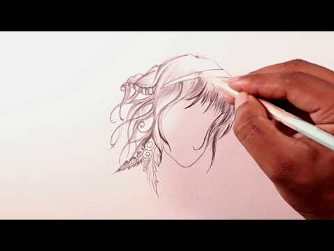 Pencil Sketch Tutorial | Easy Way To Draw a Girl Face With Hair thumbnail