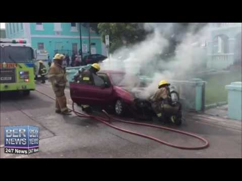 Bermuda Fire & Rescue Service Extinguish Car Fire, July 27 2016