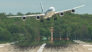CROSSWIND LANDINGS with two GO AROUNDS, Airbus A380, Airbus A340-500, Boeing 757 ... (4K)