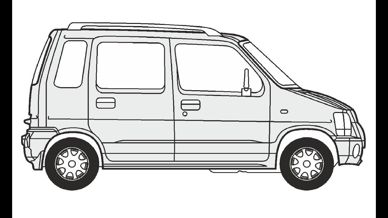 How to Draw a Suzuki Wagon R+ / Как нарисовать Suzuki
