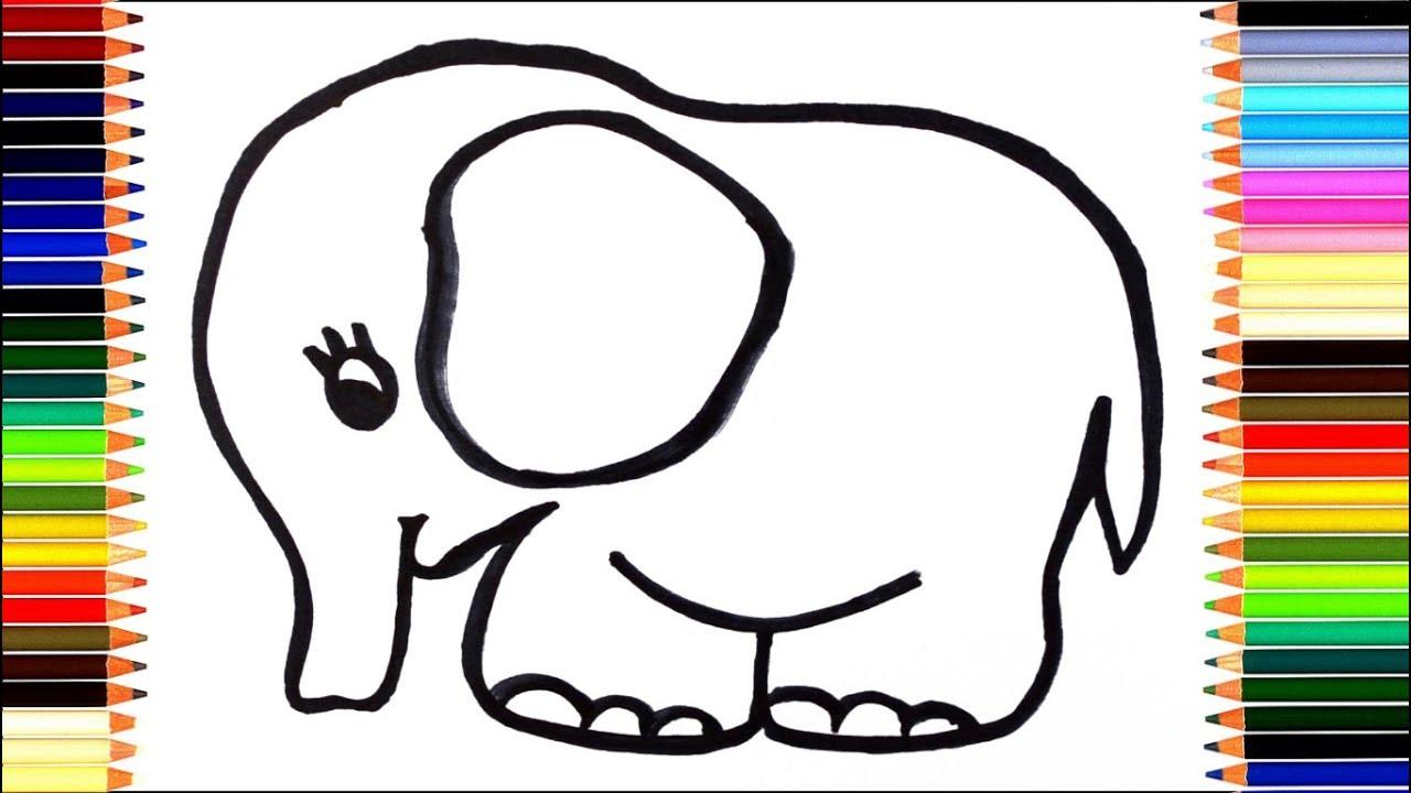 Как нарисовать слона / мультик раскраска слон для детей ...