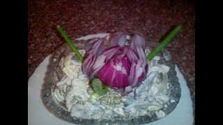 Салат с сердцем и зеленым горошком.Retsept,salat s serdtsem,video.