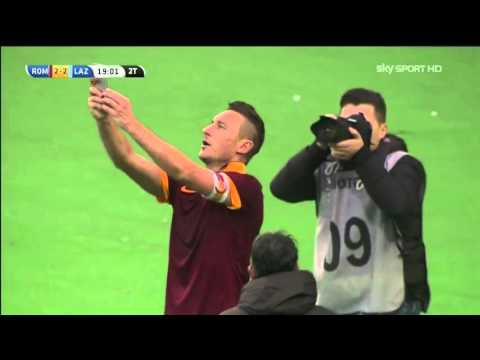 Roma Lazio 2-2 Francesco Totti Goal and selfie