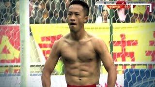 Zhang does the Balotelli celebration