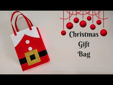 How to make a Christmas Gift Bag   Treat Bag   Paper Bag tutorial   DIY