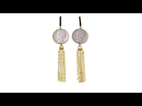 Bellezza 100 Lira Coin Black Spinel  Tassel Earrings