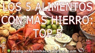 LOS 5 ALIMENTOS CON MÁS HIERRO: TOP 5  # ADELGAZAR SIN HACER DIETAS