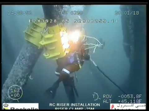 Offshore Commercial Diving - Riser Guide Clamp Installation