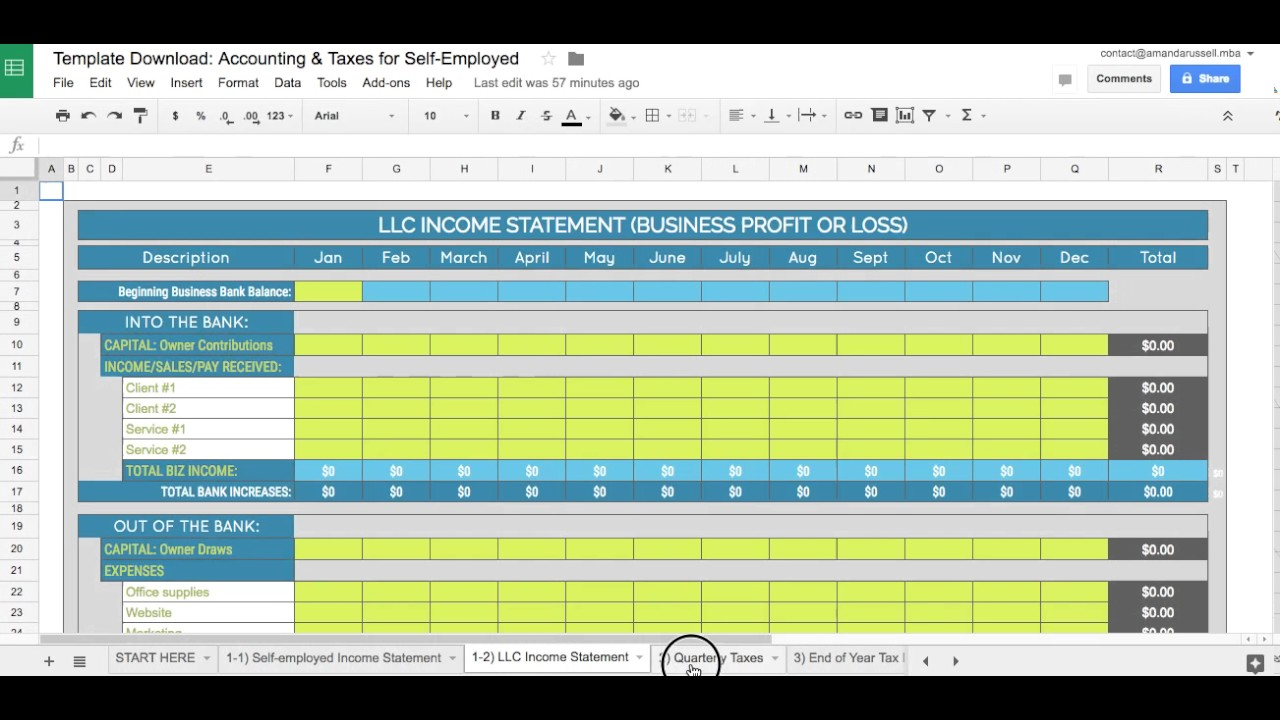 The Business Spreadsheet Template For Self Employed Accounting Taxes Llcs