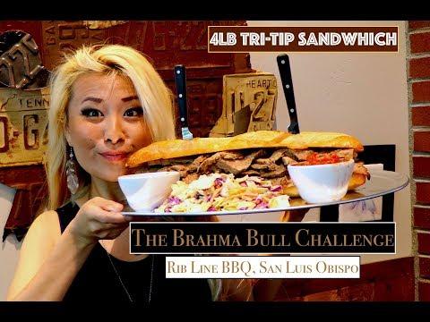 The Brahma Bull Challenge | 4lb Tri-Tip Sandwhich | ManvsFood | RibLineSLO | RainaisCrazy