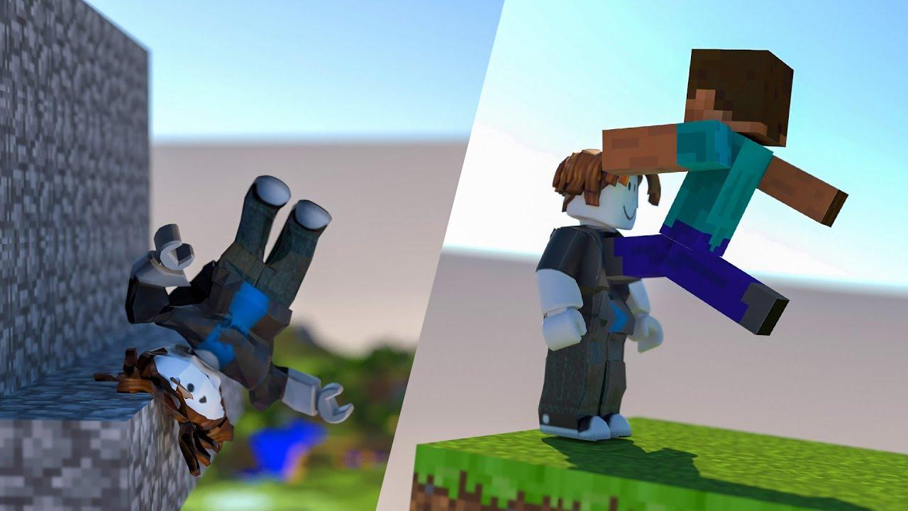 Roblox Bacon vs Minecraft Steve [Softbody simulation] 4K