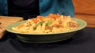 Recipe For Diet Rigatoni With Meat Sauce, Tomatoes & Mozzarella : Italian Cuisine