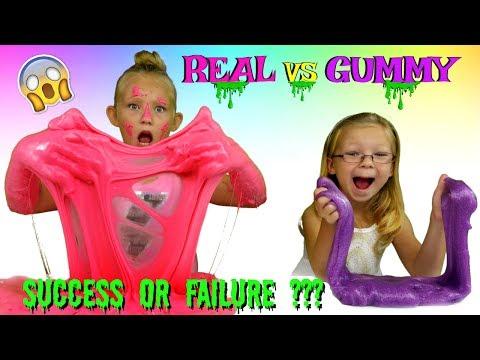 REAL vs GUMMY Slime Challenge * DIY Edible Slime Candy *DIY No Borax Slime
