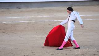 Work bullfighter. Emotions close-up. Slow motion