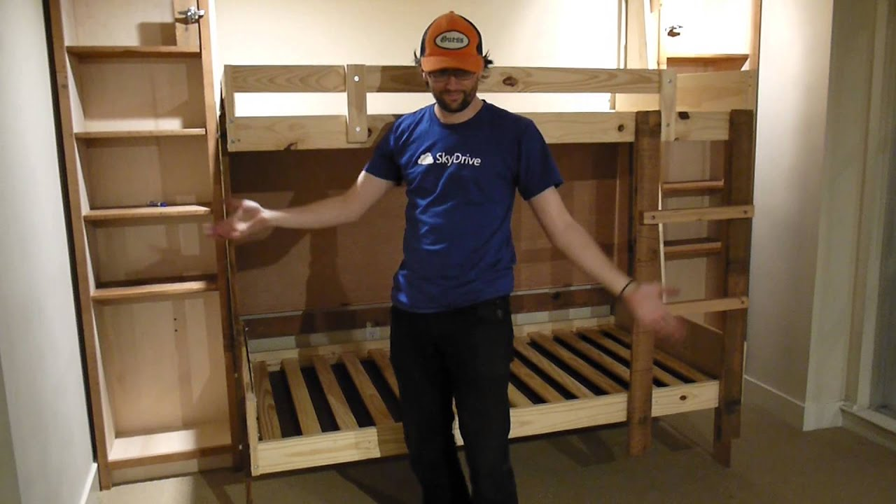 Hideaway Bed Part - 46: Hideaway Folding Bunk Beds @ LearnSprout HQ - YouTube