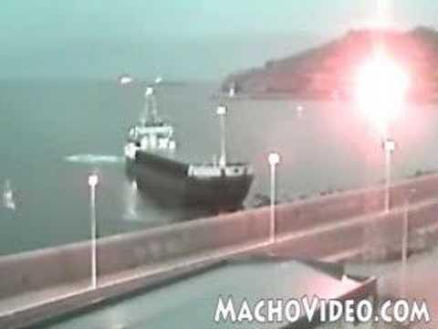 Cargo Ship Hits Land